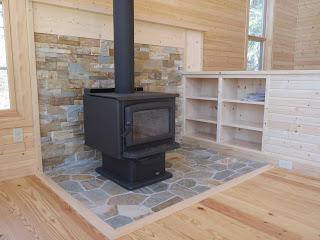 Wood, stove, pine, paneling, custom, cabinet, lake, home, huisman, ely, minnesota