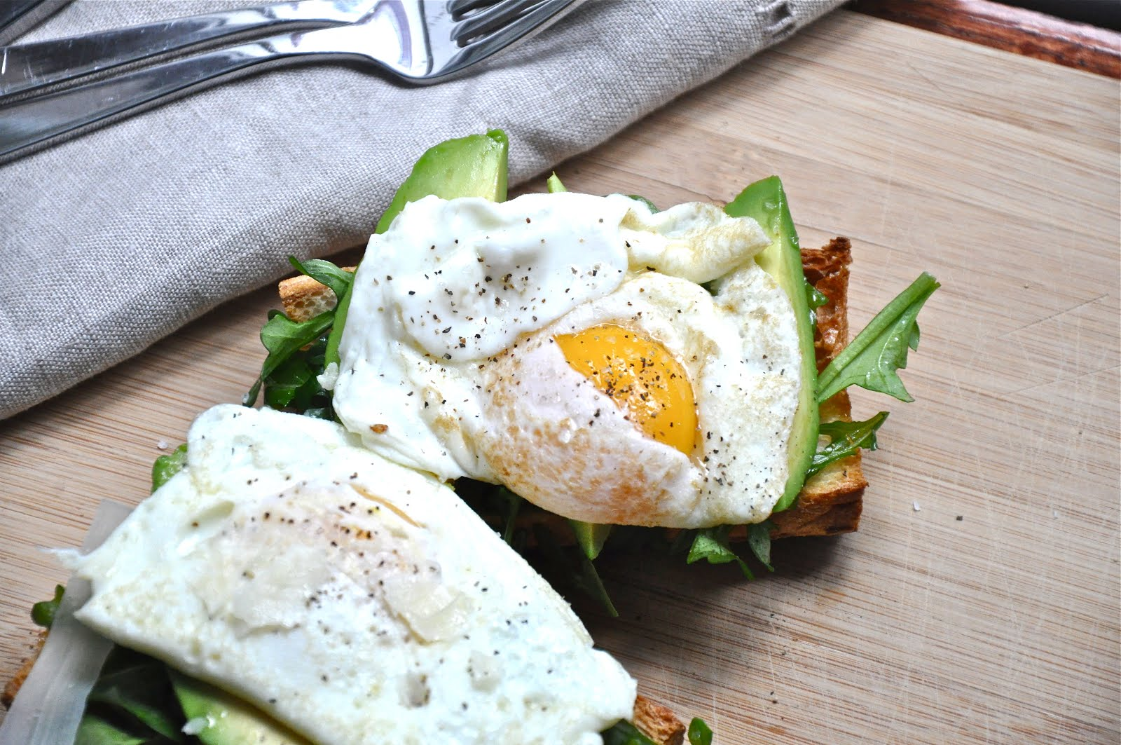 Rustic Avocado, Arugula and Fried Egg Open-Face Sandwich. This ...