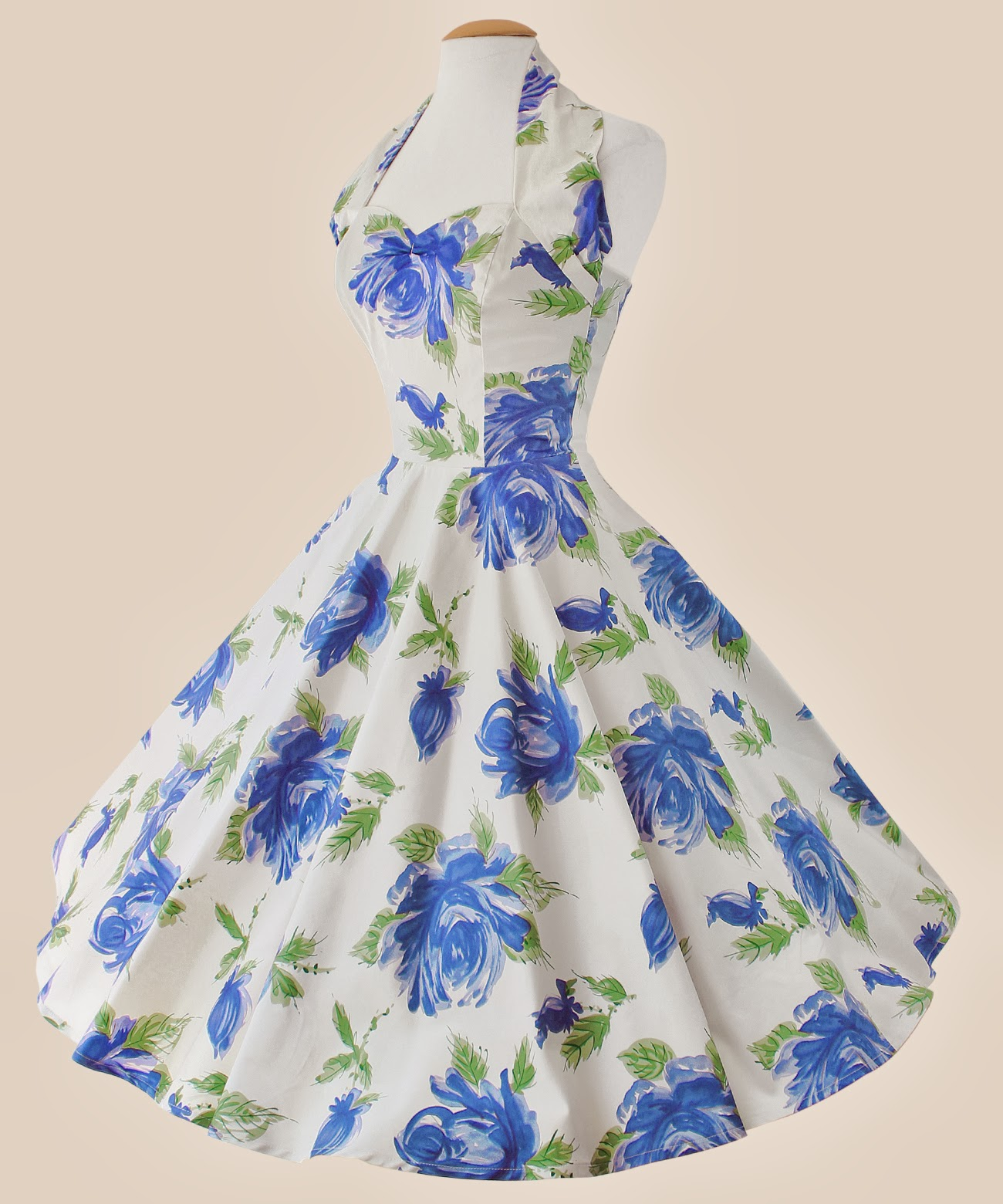 50's Halter Neck Floral Dress - £89 - Vivien of Holloway
