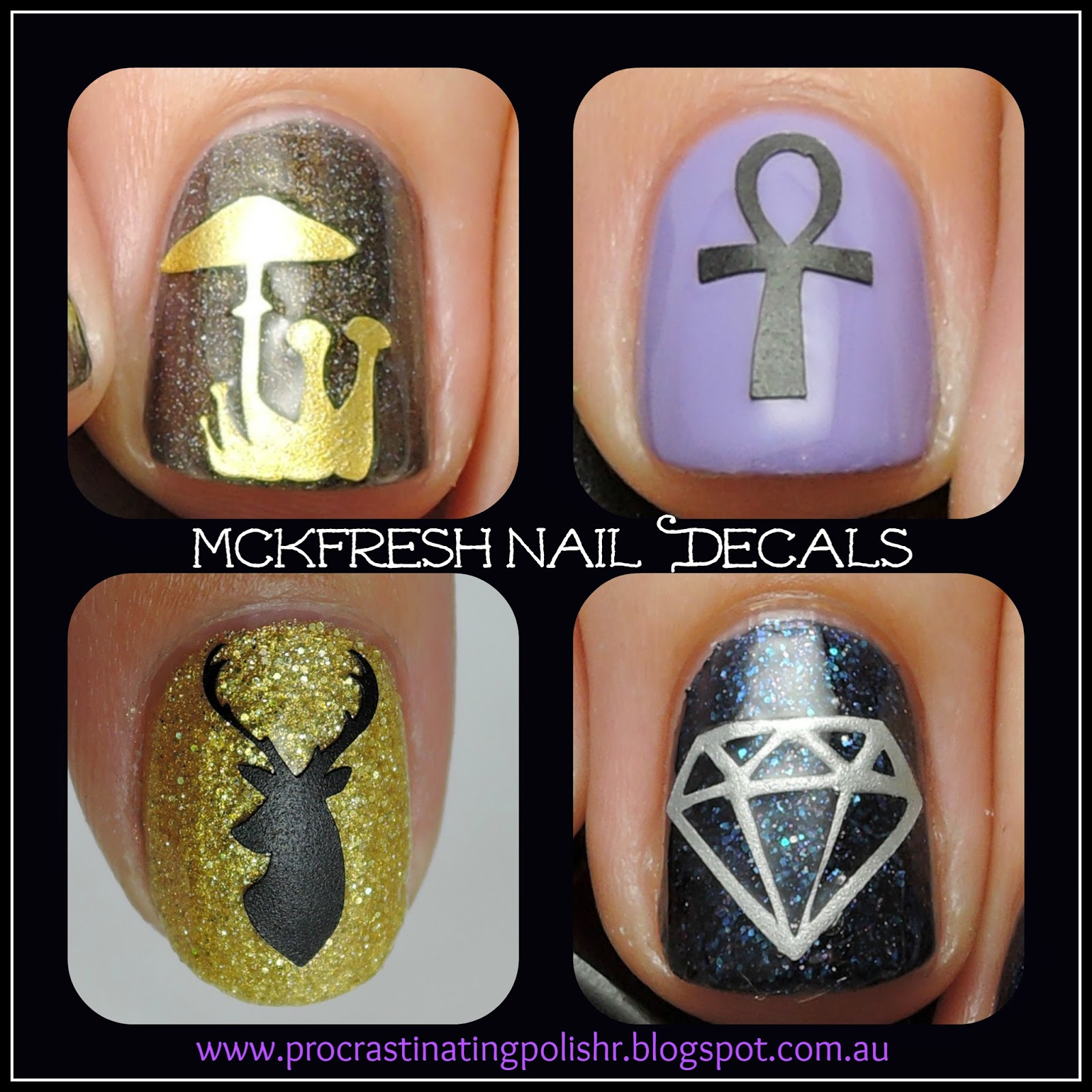 Mckfresh vinyl nail decals Ankh Elk Diamond Mushrooms