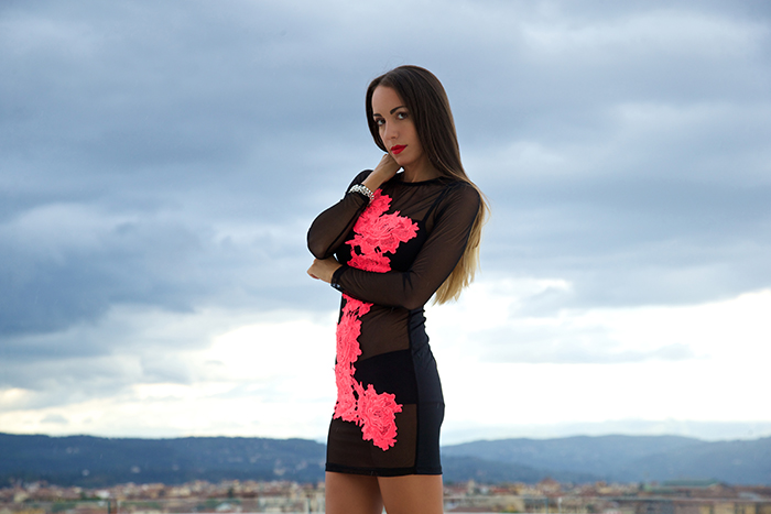 fuxia roses dress