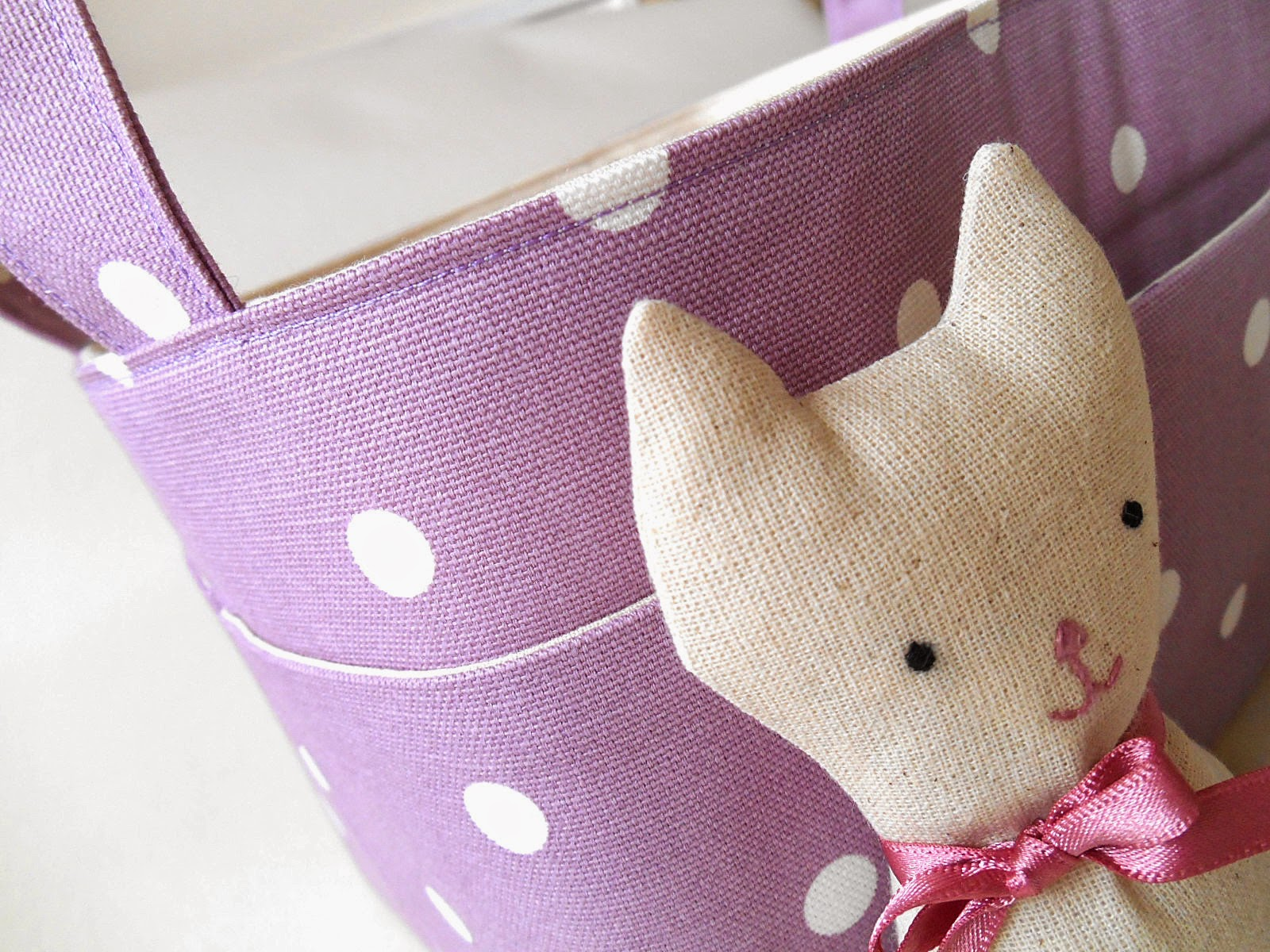 Lavender Fabric basket with Pocket Cat Softie Close Up