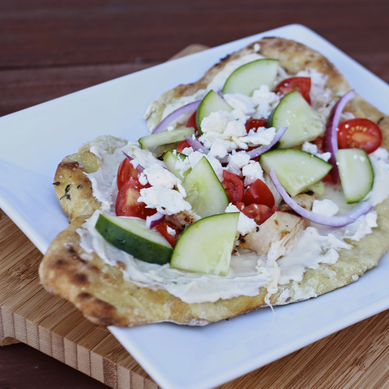 Grilled Chicken Flatbreads with Hummus and Feta | The Sweets Life