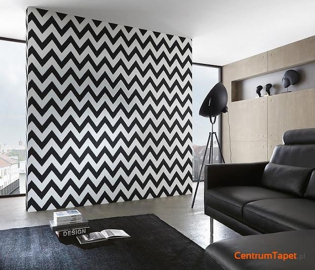 Inspiracje mieszkaniowe - czarno-białe geometryczne wzory na ścianach