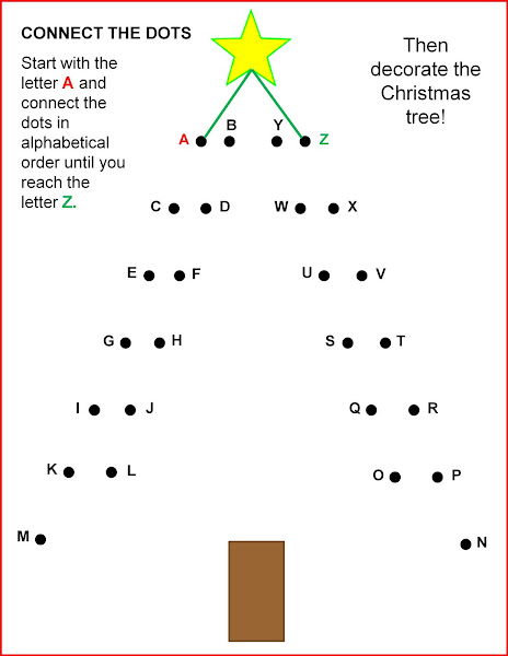 Christmas Tree Connect the Dots Worksheets