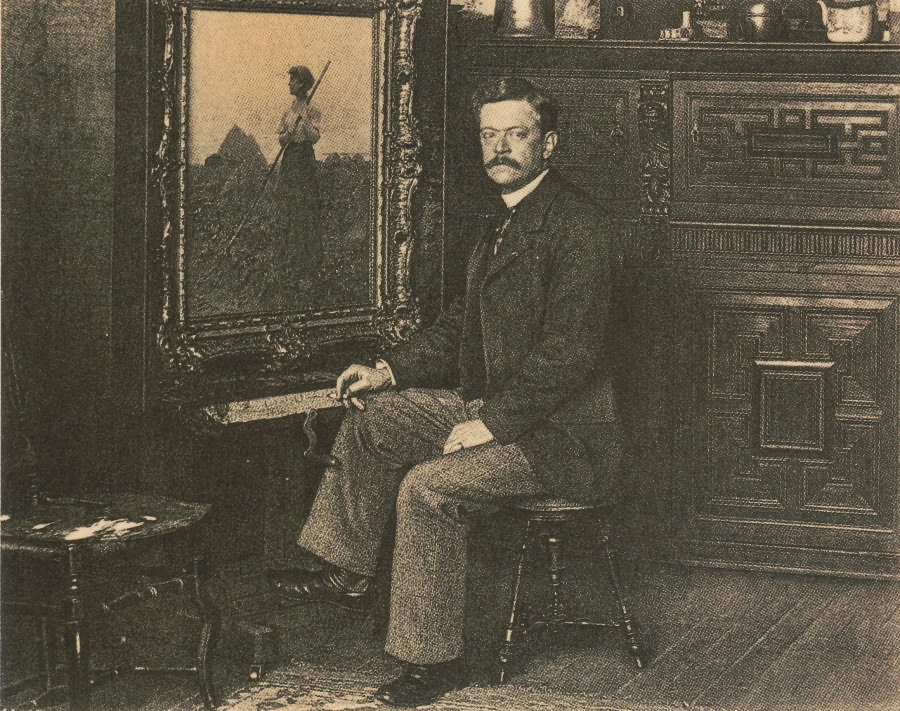Charles Sprague Pearce iin his studio in Auvers sur Oise