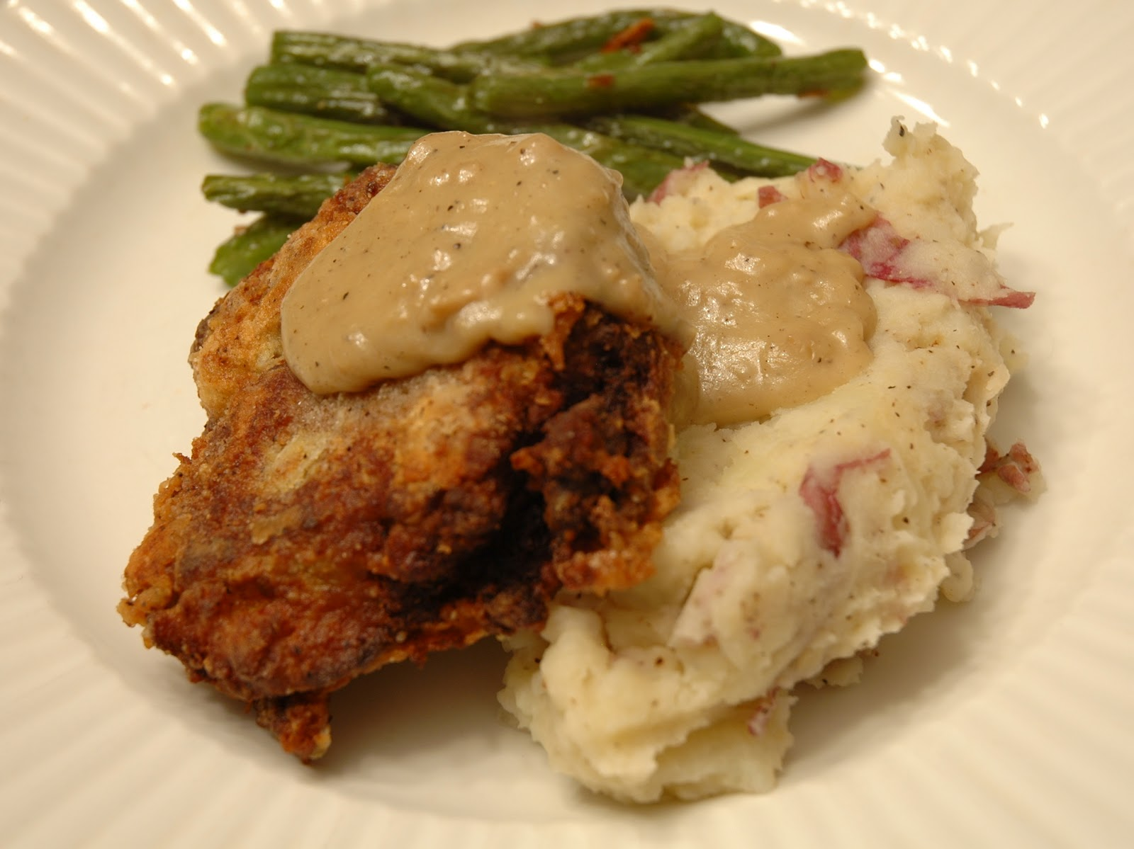 we made country fried seitan stake with mashed potatoes and white ...