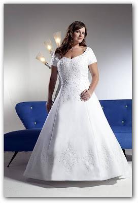 Vestido de novia para gorditas bordado y con mangas cortas