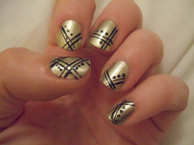 black and gold nail design - pccala