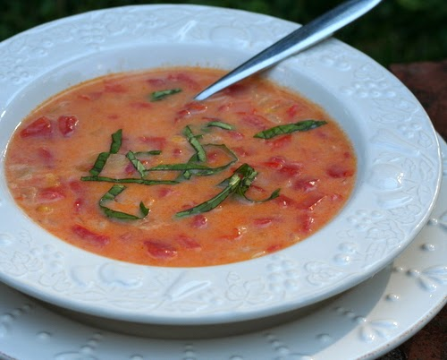 Summer's Tomato Soup, a simple, homemade tomato soup made with fresh tomatoes. Beautiful color, looks simple, tastes complex.