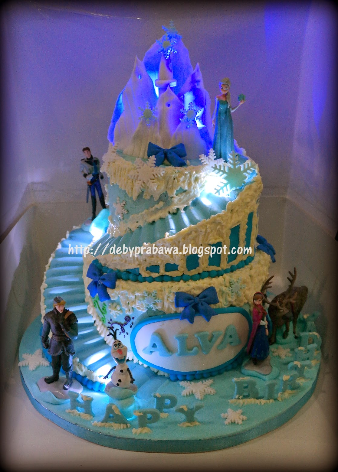 Butterfly Cake Two Tiers Frozen Theme Cake