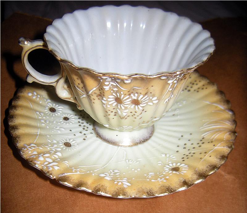 Early 1900s Hand Painted Japanese Tashiro Yokohama Porcelain Teacup & Saucer 田代