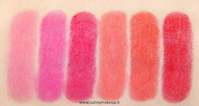 Swatch Pupa - Jelly Glow. Collezione 2015.  Lip Balm nelle colorazioni: 001 Baby Pink, 002 Fuchsia Dream, 003 Cherry Jam, 004 Sunny Coral, 005 Juicy Orange, 006 Exotic Red.