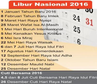 Hari Libur Nasional Dan Cuti Bersama Tahun 2016
