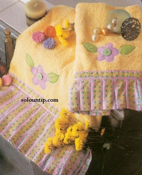 toallas decoradas con tela y apliques
