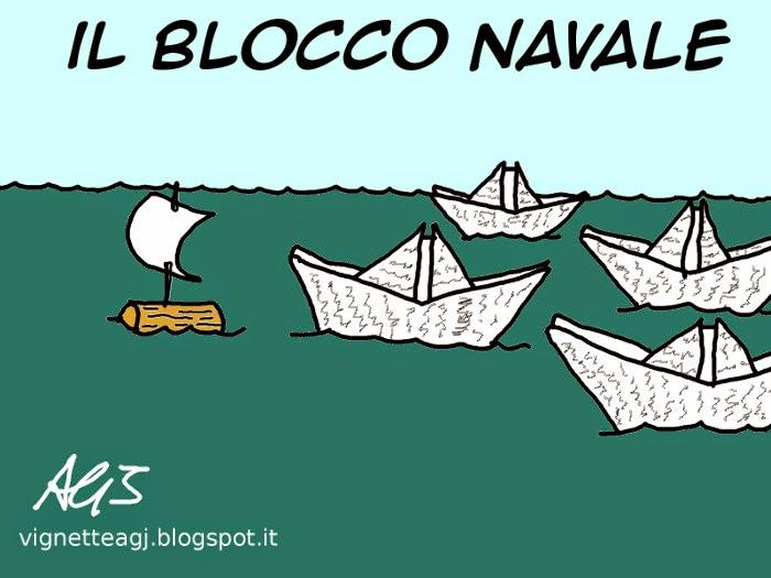 blocco navale, migranti, disastri marittimi, triton, mare nostrum, satira, vignetta