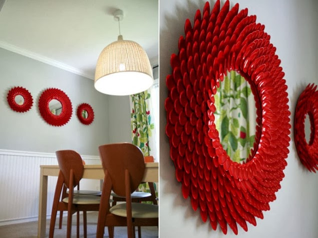 Sides of Style: DIY: How to make a beautiful mirror from plastic spoons!