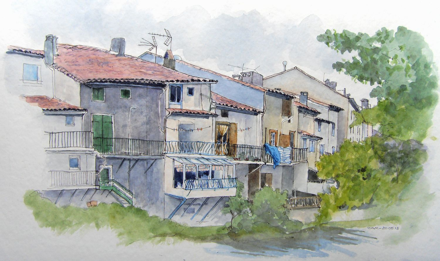 Urban sketchers france architecture audoise for Aquarelle maison de retraite