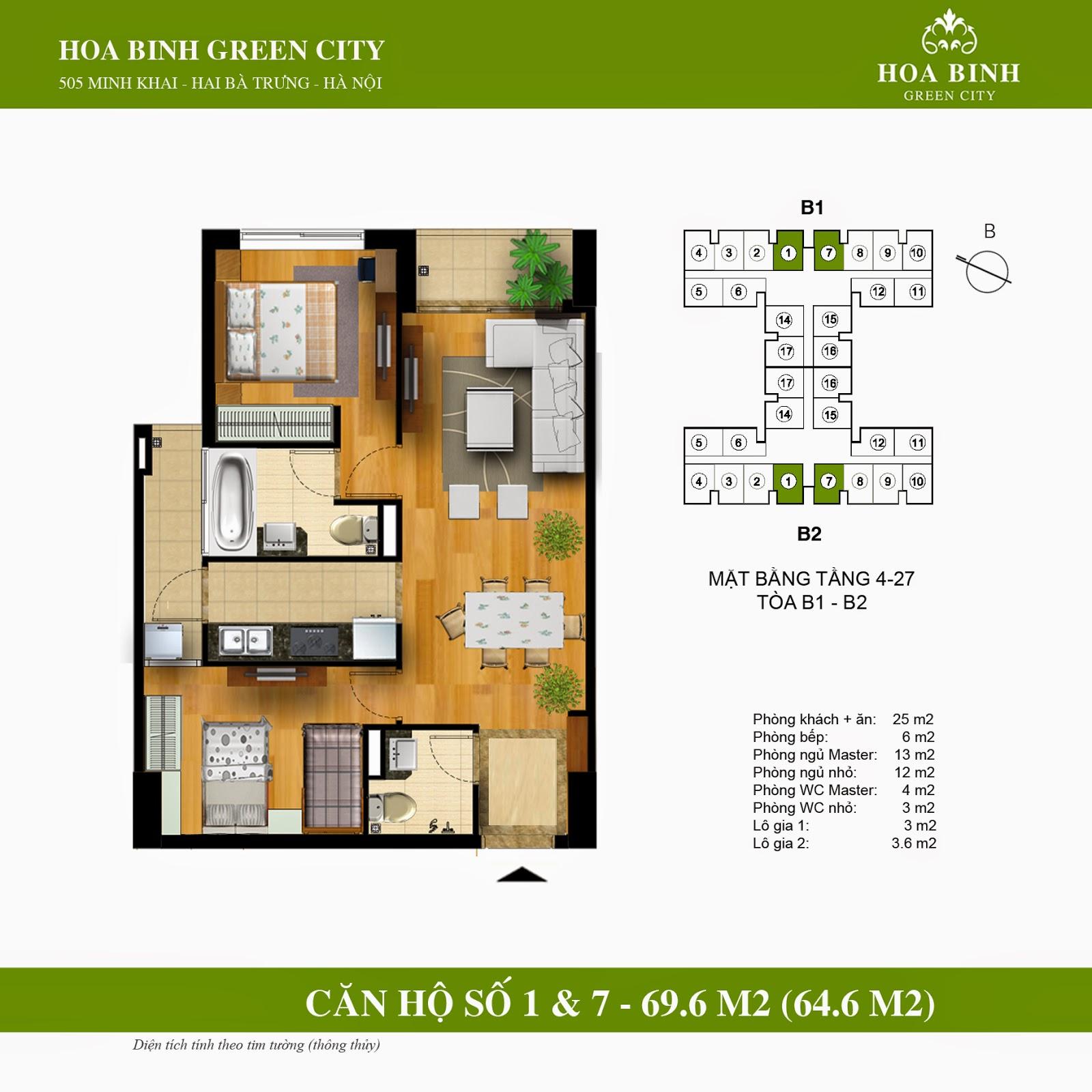 Hòa Bình Green City B căn 69,6m2