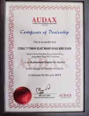 Giấy chứng nhận Phân phối độc quyền sản phẩm Audax