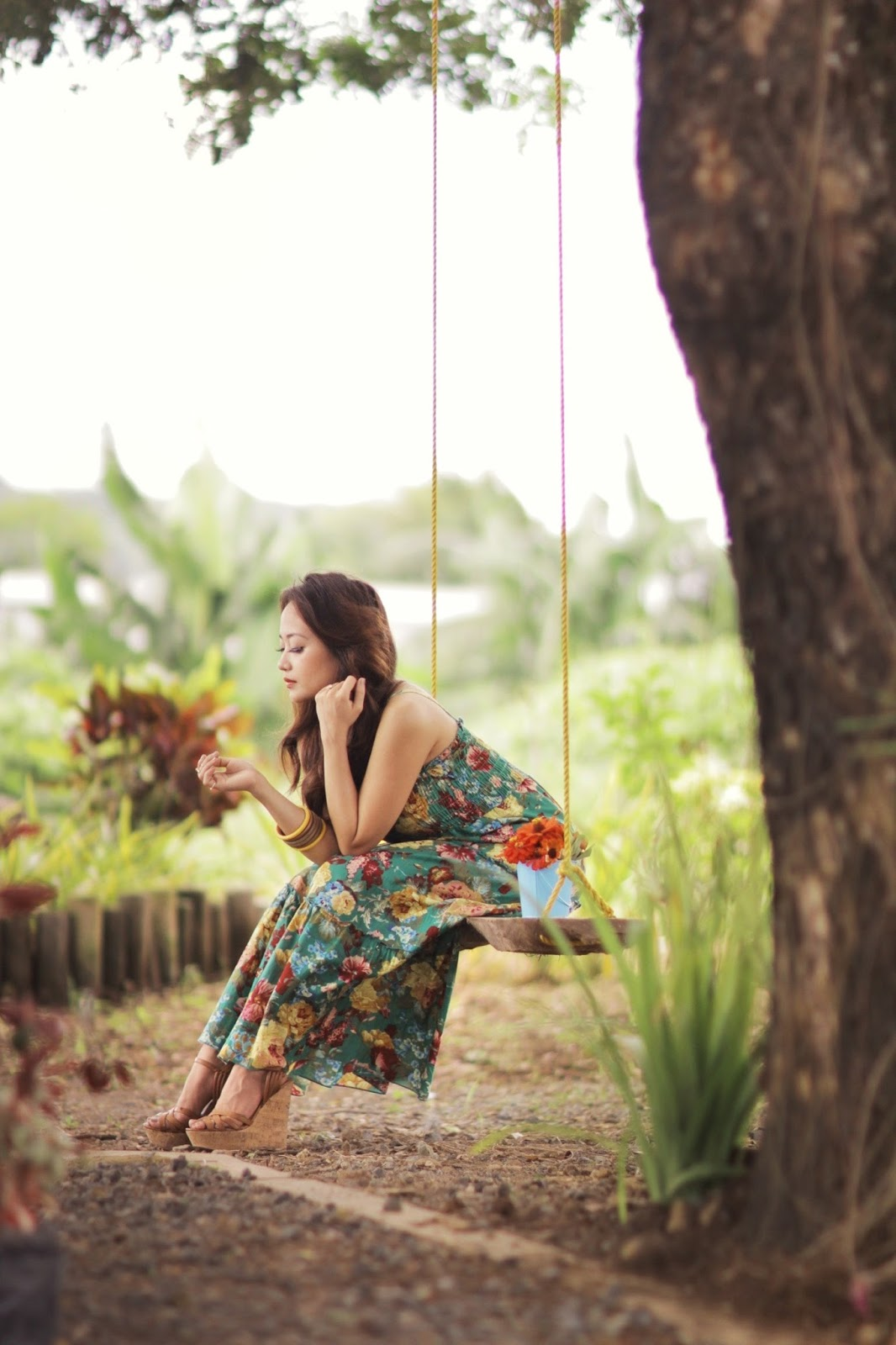 floral maxi, wooden swing, forever 21 wedges