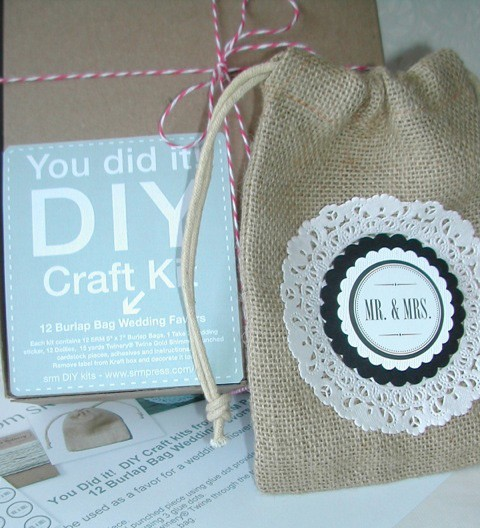 SRM Stickers Blog - DIY Wedding by Laurel - #wedding #DIY #kit #burlap #bag #doily #twine #stickers