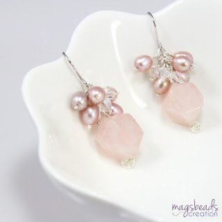 Cluster Pearls and Rose Quartz Earrings by MagsBeadsCreation