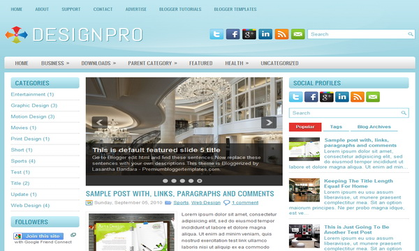 DesignPro 3 Column Blogger Template