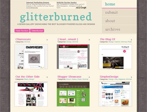 GlitterBurned Blogger Design Showcase