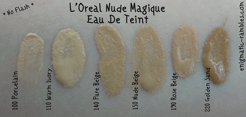 l'oreal-loreal-swatch-swatches-nude-magique-eau-de-teint-magic-liquid-powder-100-porcelain-110-warm-ivory-140-pure-beige-150-nude-beige-190-rose-beige-220-golden-sand