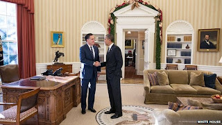 Lesson 101 For Nigeria Politicians, Obama and Romney Meet At White House For Lunch