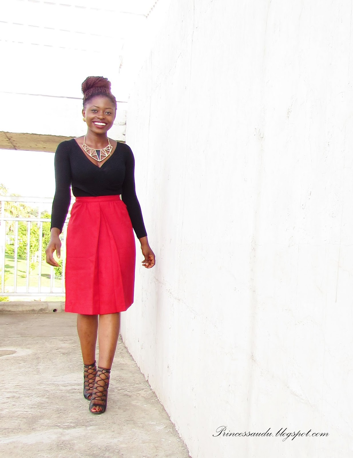 how to spice up an outfit, lace-up booties, red midi-skirt, wardrobe basics