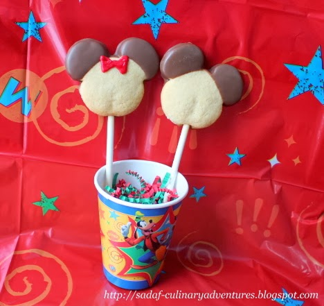 Chocolate dipped Mickey and Minnie Sugar Cookie Pops