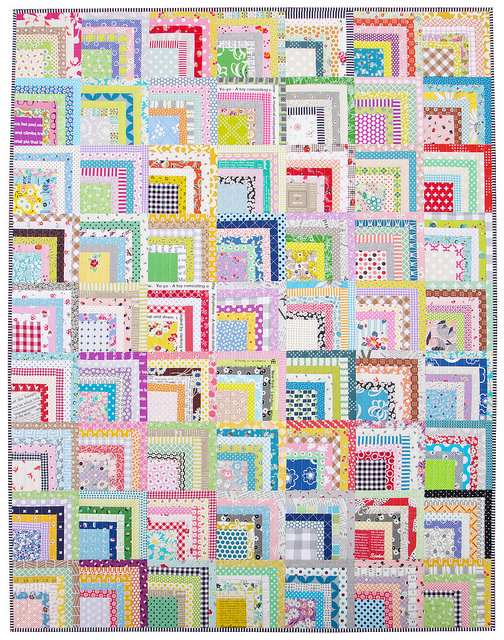 Scrappy Quarter Log Cabin Quilt ~ tutorial available | Red Pepper Quilts