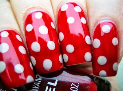 Polka dot nail art with Chanel Rouge Flamboyant 38 and Barry M Lychee
