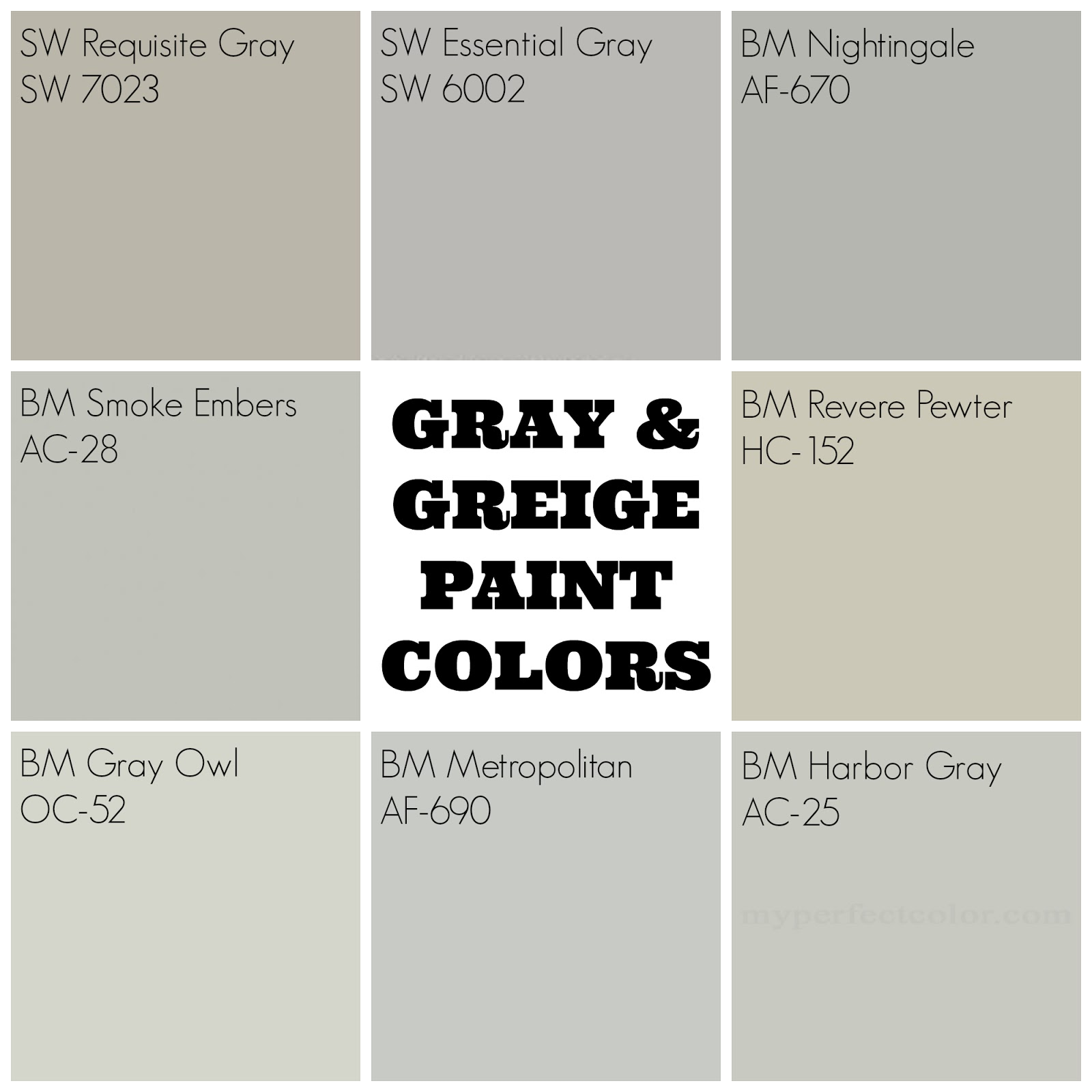 I Feel Like With The Exception Of RP And RG Being Obviously More Beige Than Gray Rest Colors Look Pretty Darn Similar But On Wall