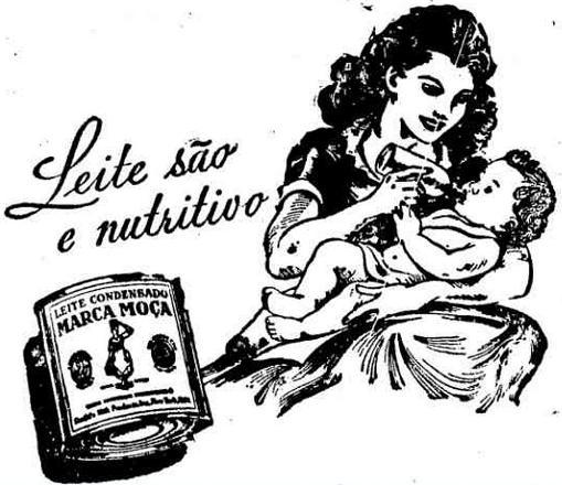Propaganda do Leite Moça como complemento para amamentação em 1949.