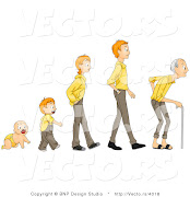 Be Born. Learn to talk. Go to School. Get up go to school. Study Hard. (vector of cartoon baby shown in stages of growth from boy teen man to senior citizen by bnp design studio )