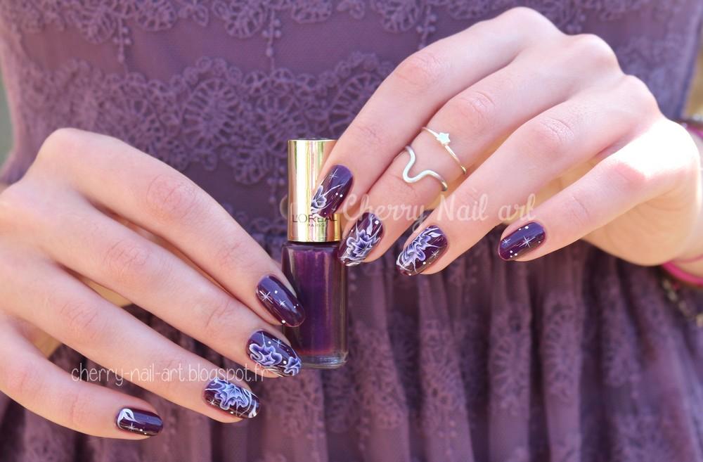 nail art one stroke fleur galaxie