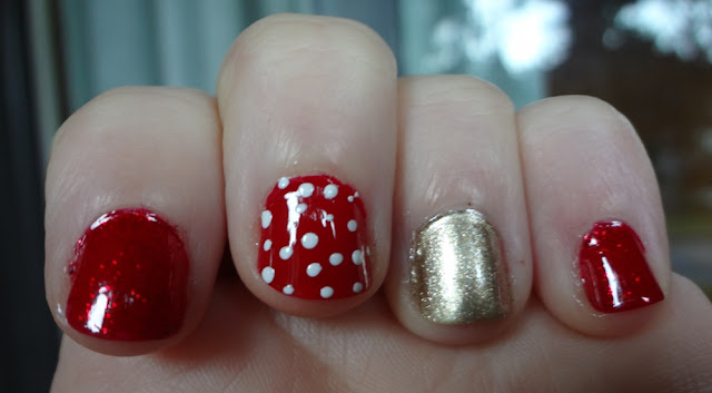 Dots made with toothpick, nail polish