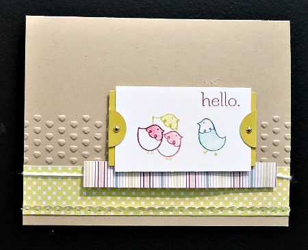 Dry embossed background Hello Card