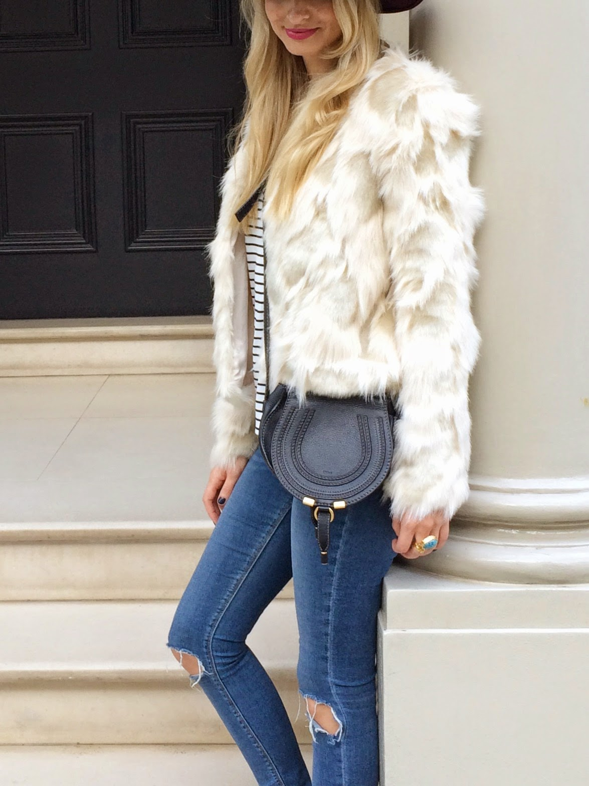 ysl arty ring, striped top, breton stipes, fake fur jacket, faux fur jacket, lipsy coat, chloe marcie mini bag