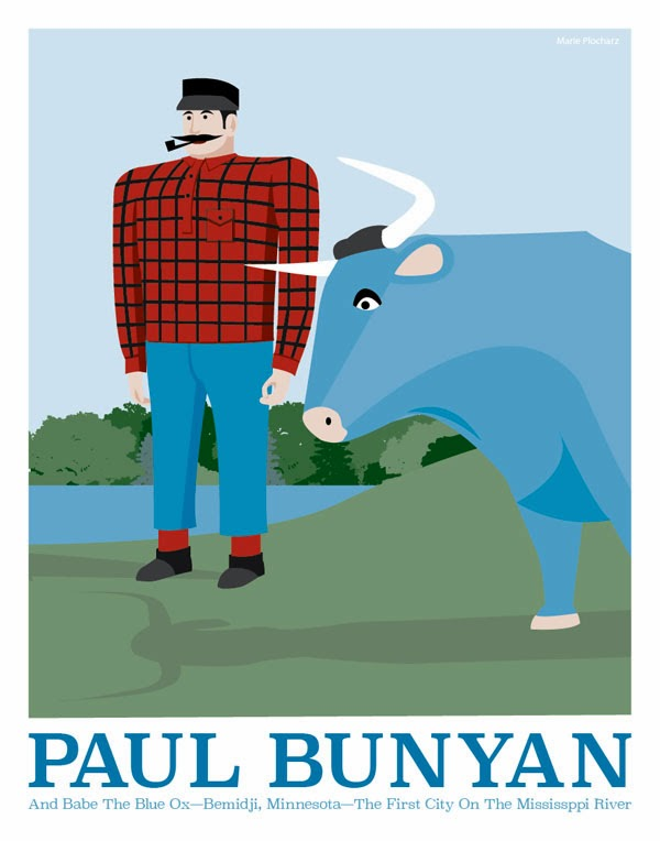 Paul Bunyan and Babe The Blue Ox Bemidji Minnesota - MN Roadside Attraction Travel Poster