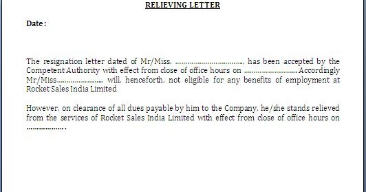 relieving letter format for employee