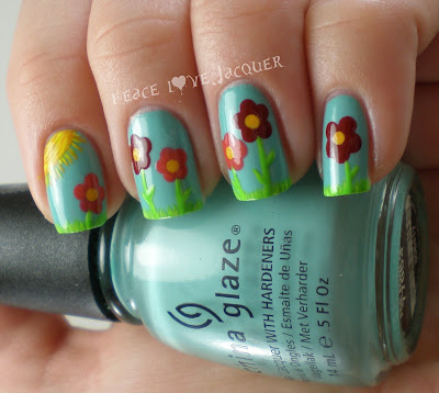 Grass, Flower, Spring, Easter, Nail Art, China Glaze, For Audrey, Barielle, Zoya, Rekha, Orange, Red, Sun, Yellow