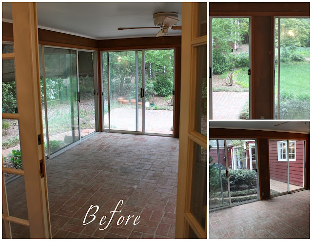 Pink to green sunroom before and after for Cedar sunroom
