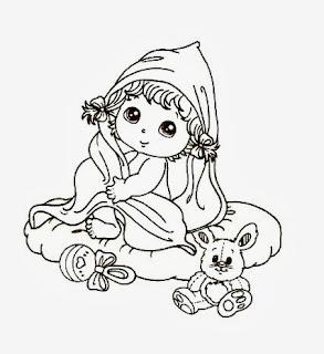 desenho bebe menina com brinquedos para pintar