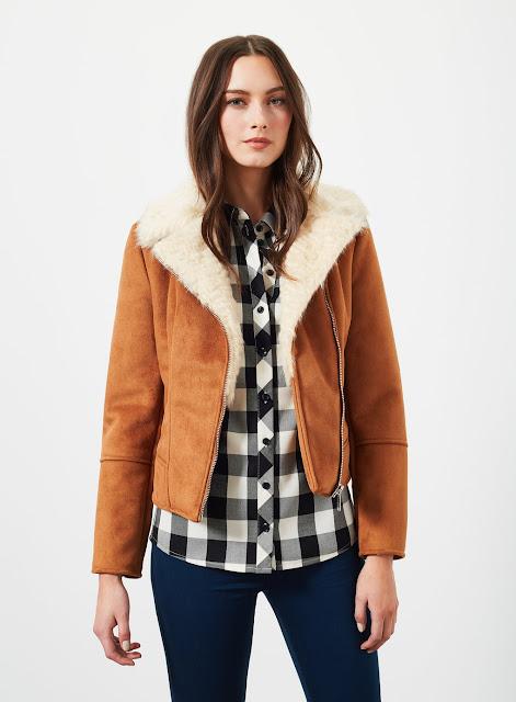 selfridge tan shearling coat, shearling biker coat,