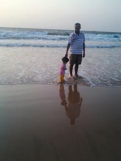 Anisha and dad on the walk
