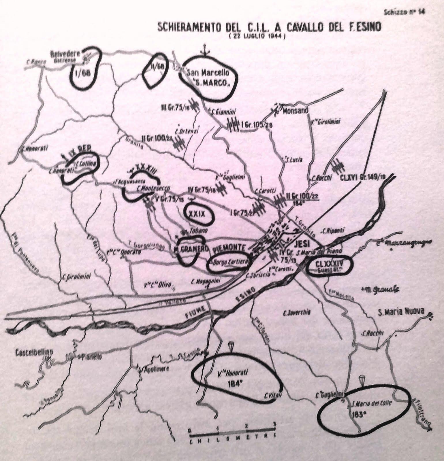 Schieramento del Corpo Italiano di Liberazione 22 luglio 1944